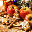 Gingerbread with Apples and Spices with Christmas Decoration — Stock Photo #62284951