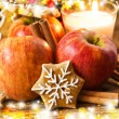 Gingerbread with Apples and Spices with Christmas Decoration — Stock Photo #62285113