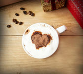 Heart Shape Cappuccino Cup with Whipped Cream  — Stock Photo