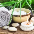 Spa Setting wiht Green Leaves and Burning Candles — Stock Photo #66595719