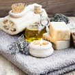 Natural Home Spa Setting with Bodycare Products — Stock Photo #66595863