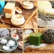 Spa Setting Collage Made of Four Spa Photography Settings and Pr — Stock Photo #66596039