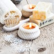 Natural Soap.Home Spa Setting with burning Candles — Stock Photo #66596079