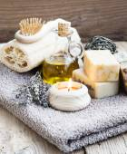 Natural Home Spa Setting with Bodycare Products — Stock Photo