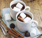Hot Chocolate Cups with Marshmallows — Stockfoto