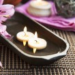 Spa Floating Burning Candles and Lilies — Stock Photo #67310977