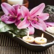 Spa Floating Burning Candles and Lilies — Stock Photo #67792485