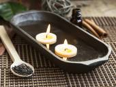 Spa Floating Burning Candles — Stock Photo