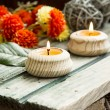 Spa Setting with Burning Candles — Stock Photo #68231865