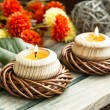 Spa Setting with Burning Candles — Stock Photo #68231869