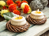 Spa Setting with Burning Candles — Stock Photo