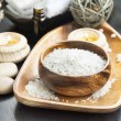 Spa Sea Salt setting with Lavender, Aromatherapy Candles and Ess — Stock Photo #72733755