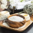 Spa Sea Salt setting with Lavender, Aromatherapy Candles and Ess — Stock Photo #72734359