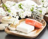 Spa Homemade Soaps with Flowers and Body-care Products — Stock Photo