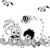 Sea bathing — Stock Vector