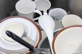 Lavaboda kirli bulaşıklar — Stok fotoğraf