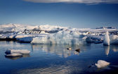 View of the glacier lagoon, Jokulsarlon, Iceland at sunset. — Stock Photo