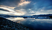 View of the glacier lagoon, Jokulsarlon, Iceland at sunset. — Stock Photo