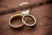 Three wedding rings — Stock Photo