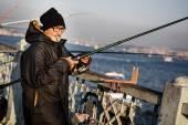 Fisherman on Galata Bridge — Stock Photo
