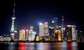 Shanghai city with bright lights — Foto Stock