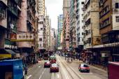 Street in Hong Kong with cars — Zdjęcie stockowe
