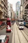 Double-decker trams on roads — Fotografia Stock