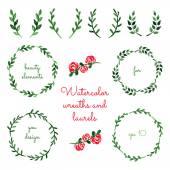 Set of watercolor wreaths and laurels. — Stock Vector