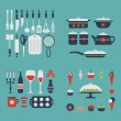 Set of kitchen utensils and food. — Stock Vector #65480061