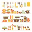 Set of kitchen utensils and food. — Stock Vector #65480093