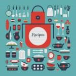 Set of kitchen utensils and food. — Stock Vector #65480099