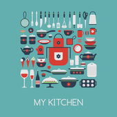 Set of kitchen utensils and food. — Stock Vector