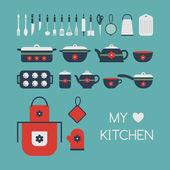 Set keukengerei. — Stockvector