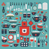 Set of kitchen utensils and food. — 图库矢量图片