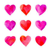 Watercolor hearts isolated. — Vettoriale Stock