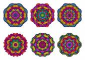 Set of mandalas. Beautiful hand drawn flowers. — Stock Vector