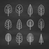 Set of chalk trees on the chalkboard. — Stock Vector