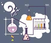 старая наука и химия лаборатория инфографики — Cтоковый вектор
