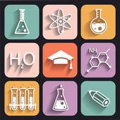 химия цветные иконки для обучения и веб-приложений — Cтоковый вектор