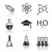Colored chemistry icons  for learning and web applications — Stock Vector
