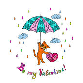 Doodle cat valentines day — Stock Vector