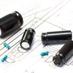 Several capacitors and resistors — Stock Photo #53720879