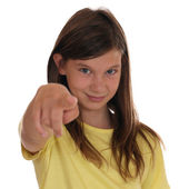 Young girl pointing with her finger I want you — Stock Photo