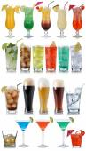 Set of drinks, cocktails, cola, beer, water and Whisky — Stock Photo