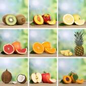 Collection of fruits like oranges, peaches, pineapple, lemons an — Stock Photo