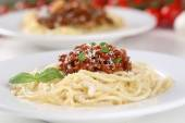 Spaghetti Bolognese noodles pasta meal on a plate — Stock Photo