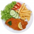 Schnitzel chop cutlet meal with french fries on plate isolated — Stock Photo #58743871