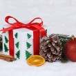 Christmas gift box with snow — Stock Photo #58958857