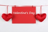 Greeting card on Valentine's day with copyspace and two hearts — Stock Photo
