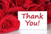 Thank you card with red roses flowers — Stock Photo